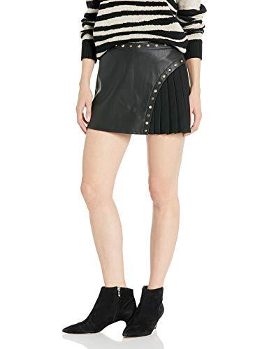 Armani Exchange A|X Damen Black Studded Pleather Half Pleated Skort Elegante Shorts, schwarz, 32