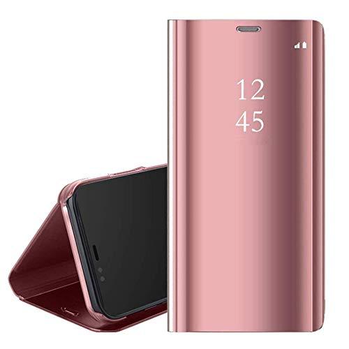 Funda Xiaomi Mi 10T Lite 5G,Inteligente Translúcido Espejo Clear View Flip Cover Plegable Soporte Protectora Carcasa Funda para Xiaomi Mi 10T Lite,Rosa