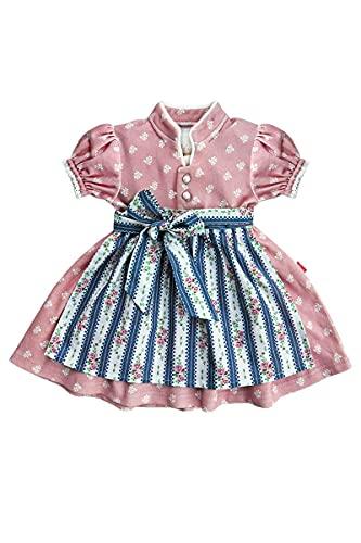 MoGo Baby - Mädchen Baby-Dirndl rosa mit Schürze blau, ROSA, 62/68