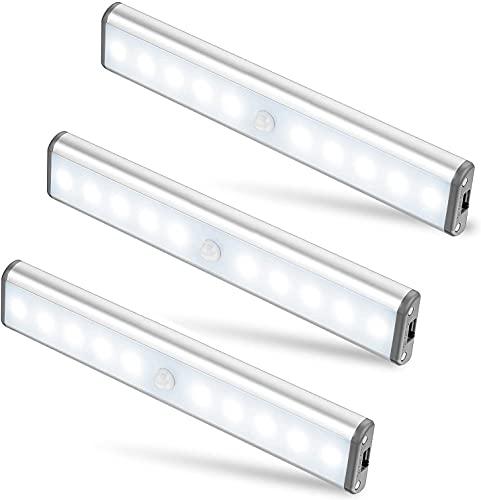 MOSTON Schrankleuchten mit Bewegungsmelder 10 LED USB Wiederaufladbar Magnetisch Bewegungsmelder Nachtlicht LED,Auto/ON/OFF Geeignet für Schrank Kinderzimmer Flur Schlafzimmer Küche Treppe