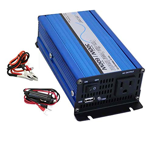 AIMS 300 Watt, 600 Watt Peak, Pure Sine DC to AC Power Inverter, USB Port, Cables Included - Non UL Listed