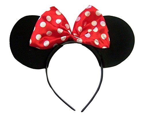 Rote und weiße Tupfen Minny Maus-Ohren auf einem schwarzen Samt-Alice-Stirnband Gr. Einheitsgröße, Mehrfarbig
