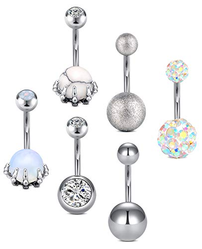 D.Bella 14G Belly Button Rings Surgical Stainless Steel Skull Hand Belly Rings Diamond Navel Rings Piercing 10mm 3/8' Belly Button Piercing for Women