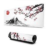 Größere Gaming Mauspad Japan Tuschemalerei Berg Sakura Sonne wasserdichte Optimale Gleitfläche Anti Rutsch Gaming Matte Verbessert Präzision und Geschwindigkeit 800X300X3 mm