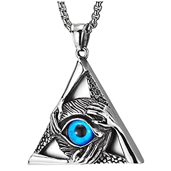 Steel Vintage Evil Eye Protection Hands Triangle Pendant Necklace for Men Women 30 Inch Wheat Chain