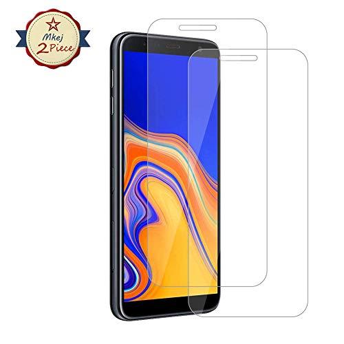Mkej Vetro Temperato Samsung Galaxy J4 Plus Pellicola, [2 Pezzi] HD Alta Trasparenza Senza Bolla Pellicola Protettiva di Vetro, Screen Protector [Resistenza ai Graffi] 3D Copertura Vetro Protettivo