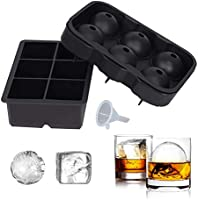 SUNSET Silicone Ice Cube Trays – Set of 2 Large Ice Cube Molds | Square & Sphere Ice Ball Maker for refrigerator | Ice...