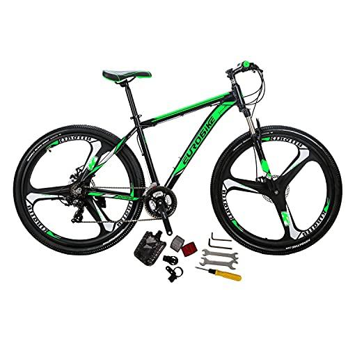 Eurobike X9 Aluminum Frame Mountain Bike 21 Speed 29 Inches 3 Spoke Wheels Dual Disc Brake Mountain Bicycle Blackgreen