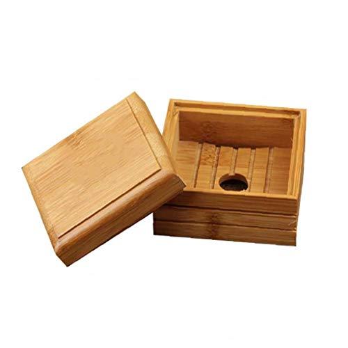 Soap Box, Ecológico Bambú jabón Plato de Madera de Viajes de contenedores del Plato de jabón Caja de la Caja de jabón jabonera CAS Caja de Almacenamiento Accesorios de baño