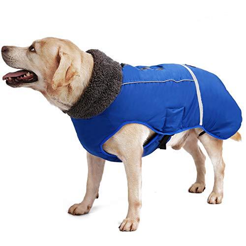 TFENG Reflektierend Hundejacke, Wasserdicht Hundemantel Warm gepolstert Puffer Weste Welpen Regenmantel mit Fleece für Hunde (Blau, Größe M
