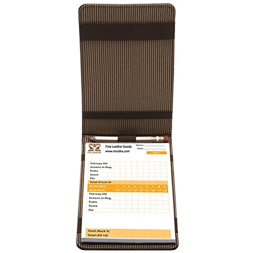 MUISKA Leather Front Pocket Golf Scorecard Yardage Stats Book Case Cover Holder with Elastic Pencil Band, Brown