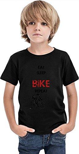 Eat Sleep Bike Repeat - Camiseta para niños, Negro, 2-3 Años