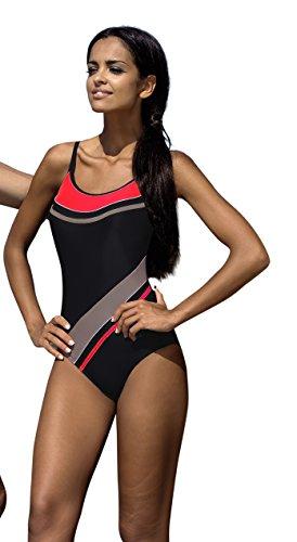 LORIN Badeanzug fur Damen Endurance einteiliger Schwimmanzug Vorgeformte BH-Cups, 36, V3
