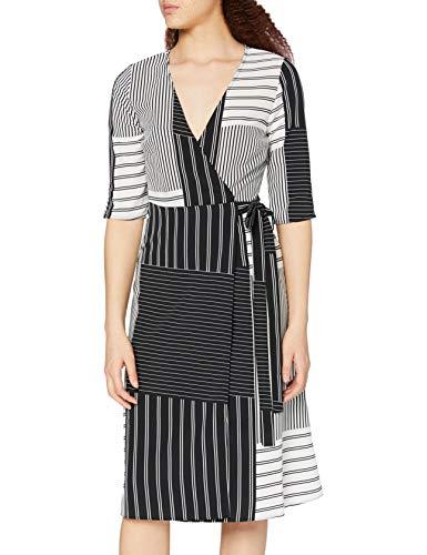 Marca Amazon - find. Vestido Cruzado Mujer, Negro (Black/white), 36, Label: XS