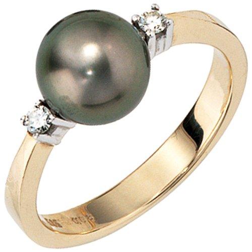 Damenring Ring mit Brillanten Tahiti-Perle 585 Gold Gelbgold Fingerschmuck, Ringgröße:Innenumfang 58mm ~ Ø18.5mm