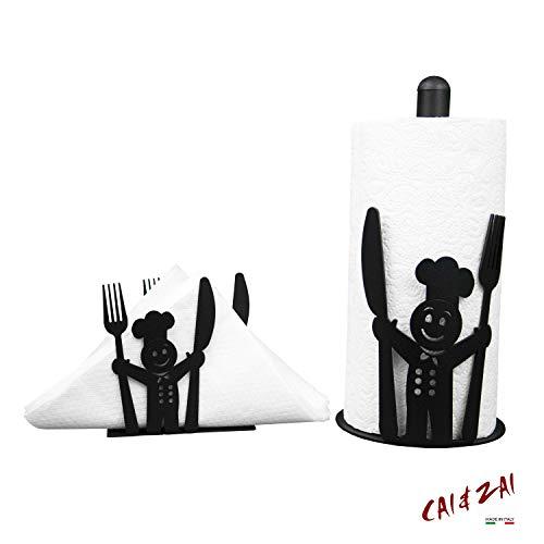 CAI & ZAII-set keukenrolhouder & servethouder ontwerp Made in Itaty- zwart.