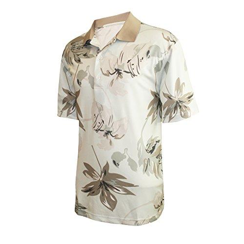 Monterey Club Mens Dry Swing Leaf Shadow Polo Shirt #1534 (Ice/Khaki, Medium)
