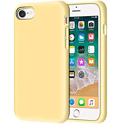 "iPhone 8 Case, Anuck Non-Slip Liquid Silicone Gel Rubber Bumper Case with Soft Microfiber Lining Cushion Hard Shell Shockproof Full-Body Protective Case Cover for Apple iPhone 7/8 4.7"" - Yellow"