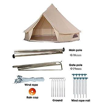 Bell Tent Glamping, 100% Coton Toile Imperméable Grandes Tentes 4 Saison Imperméable Extérieur Yourte Bell Tente Glamping pour Camping Familial Randonnée, Festivals de Noël, Mariages Fête, Beige