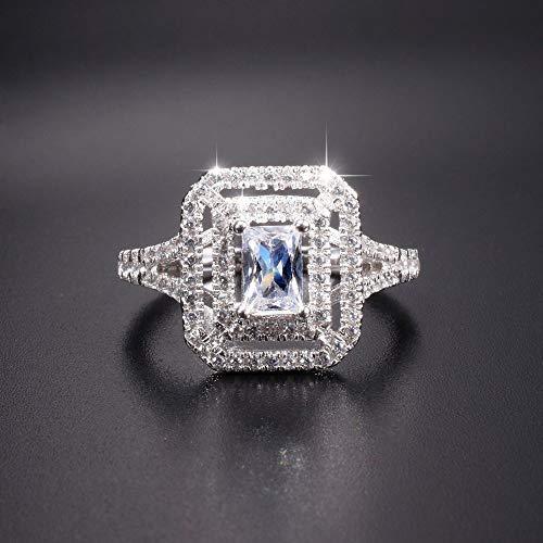 MYLDML Rings Mode Silber Netzwerk Vintage Pflastern Einstellung Platz SZ Diamant Ringe Schmuck Hochzeit Band Ringe Für Frauen größe 5-10, Weiß, 5