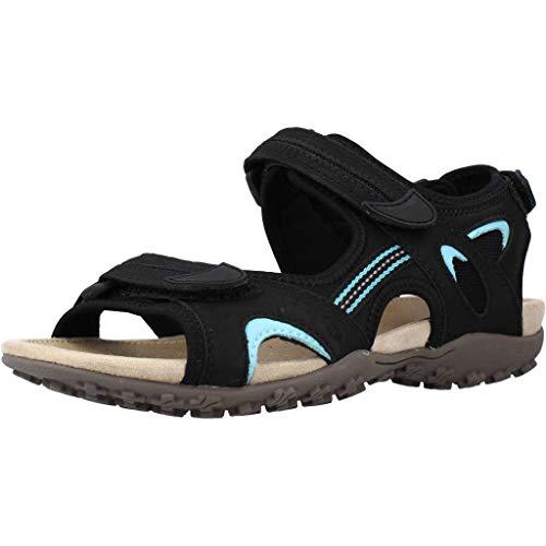 Geox Sandal STREL D9225B Damen Trekking Sandalen,Frauen Outdoor-Sandale,Sport-Sandale,Aussensteg,3-Fach Klett,SCHWARZ,40
