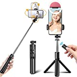 Selfie Stick, Extendable Selfie Stick with Wireless Remote and Tripod Stand,Phone Holder Compatible with iPhone and Android Smartphone (with Free Selfie Lights)