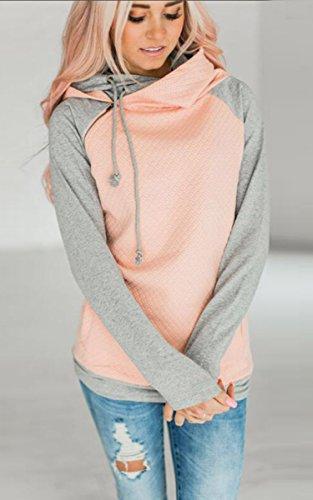 ECOWISH Damen Kontrastfarbe Pulli Pullover Rollkragen Sweatshirt Kapuzenpulli Top Hoodies Rosa L - 2