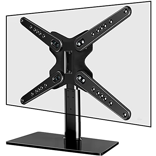 Universal Swivel TV Stand-JUSTSTONE Base Table Top TV Mount for 37-70 Inch Flat Curved TVs,Height Adjustable Tall TV Mount Stand with Tempered Glass Base,VESA 600x400mm Hold up to 110 lbs