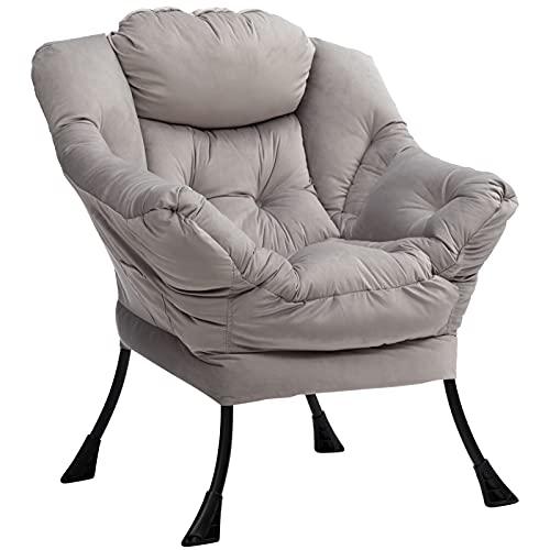 AcozyHom - Silla moderna grande de tela de algodón con acento contemporáneo, estructura de acero, sofá de ocio con reposabrazos y bolsillo lateral, color gris claro