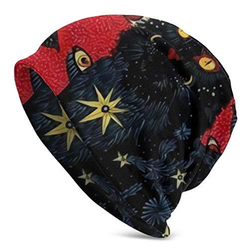 Estilo de Pintura al óleo, Muchos Ojos, Gatos Negros Gorro Unisex Holgado para la Cabeza Adecuado para Todos los Estilos Gorro de Punto para Uso Diario