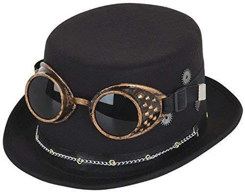 Fancy Me Erwachsene Herren Steampunk Viktorianisch Erfinder Halloween Wilder Westen Schwarzer Hut Brille Schicke Verkleidung Kostüm Hut