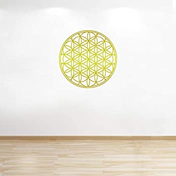 Flower of Life Decal Boho Decals Vinyl Mandala Decal Flower of Life Sticker Mandala Decal Seed of Life Wall Decals Geometric  22in Gold