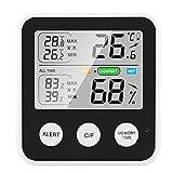 Voupuoda Termómetro magnético de alta precisión Higrómetro Termohigrómetro digital con pantalla LCD ℃ / ℉ Conmutable todo el tiempo / 24 horas Temperatura mínima máxima Humedad Función de recordatorio