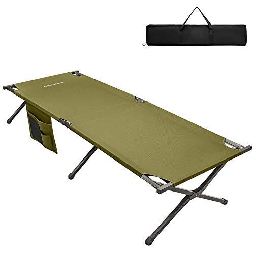 KingCamp Lit de Camp Pliable avec Sac de Transport Lit Pliant de Voyage Léger Solide et Durable Charge 120 kg Tube Épaissi 205 × 75 × 46 cm Vert