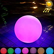 Yadianna Outdoor Lighting 40cm Round Ball Solar Power Floating Garden Changing Colorful LED Light Lamp with 2.8W Monocrystalline Silicon Solar Panel Beautiful Light