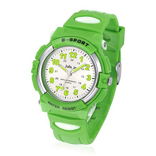 Juboos Kinderuhr Jungen Mädchen Analog Quartz Uhr mit Armbanduhr Gummi Wasserdicht Outdoor Sports Uhren-JU-001(Grün)