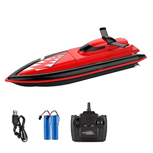 QZH Barche Telecomandate Giocattolo, 2.4G Telecomando Squalo Piscina Ad Alta velocità Mini Barca RC Giocattolo Squalo Regalo per Ragazzi E Ragazze dai 6 Anni in su,Rosso