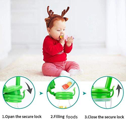 Laelr Fruchtsauger für Baby, 4 Stück Schätzchen Schnuller Gemüse sauger für Schätzchen Schnuller Beißring für Obst Gemüse Brei - 5