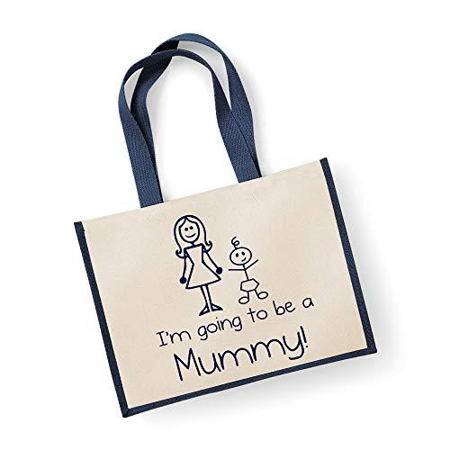 60 Second Makeover Limited Grand sac de jute I'm Going To Be A Mummy Bleu marine Sac fête des mères Nouvelle Maman anniversaire Cadeau de Noël