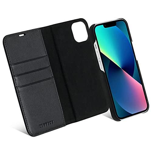 KANVASA iPhone 13 Hülle Leder Hülle Lederhülle 2 in 1 schwarz Luxus Echtleder Cover Handyhülle für Original iPhone 13 (6,1 Zoll) - Kabelloses Laden Qi möglich