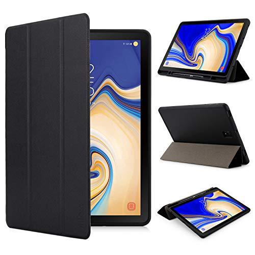 iHarbort Custodia in pelle PU per Samsung Galaxy Tab S4 10.5 pollici SM-T830 T835, 2018 Version Case Cover con slot per S-penne porta-slot per penna, 3 volte, il sonno/sveglia la funzione, Nero