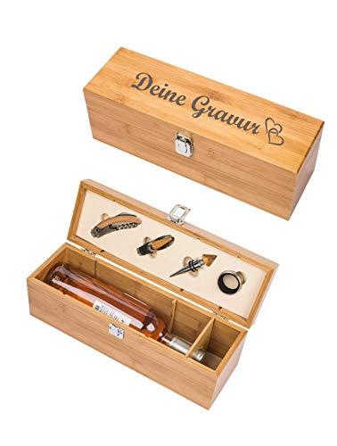 Schmalz® Profi-Weinset BATUMI mit Gravur aus Holz | Kellnermesser | Tropfring | Ausgießer | mit Namen | Bambus | nachhaltig 52148 (mit Gravur)