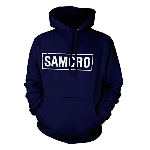 Hybris Sons of Anarchy-Samcro Distressed Hoodie Capucha, Azul (Navy Blue 001), Medium para Hombre