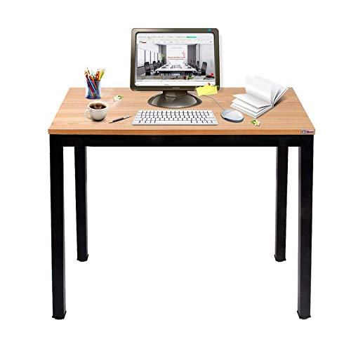 Need Small Computer Desk for Home&Office- 31.5 Length Small Writing Desk Gaming Desk Students Laptop Use, Teak Color Desktop & Black Frame AC3BB(8060)