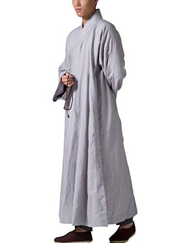 KATUO Abito lungo da uomo grigio tradizionale buddista meditazione monaco accappatoio grigio L