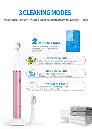 FLEXFORCE Electric Toothbrush for Adults, Rechargeable Toothbrush with 3 Modes and 2 Replacement Heads, Soft Bristles for Sensitive Gum Care, USB Charging Power Toothbrushes for Travel(Rose-Gold)