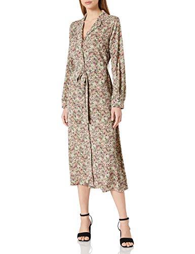 Only ONLKENDALL L/S Shirt Dress WVN Vestido, Pumice Stone/AOP:Green Flower, S para Mujer