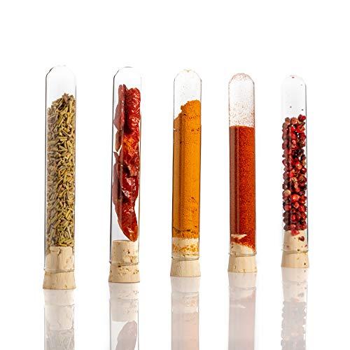 100 Provette in vetro con tappi in sughero naturale - vetro trasparente da laboratorio, pareti resistenti, 100 x Ø16 per artigianato, Fai da Te e decorazione