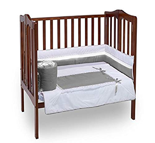 Baby Doll Bedding Royal Mini Crib/Port-a-Crib Bedding Set, Grey