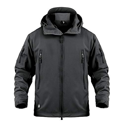 ANTARCTICA Men's Outdoor Waterproof Soft Shell Hooded Military Tactical Jacket Black